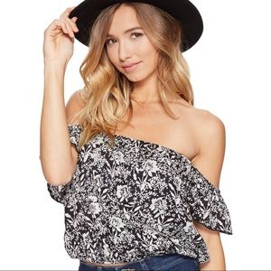 Amuse Society floral crop top off the shoulder xs